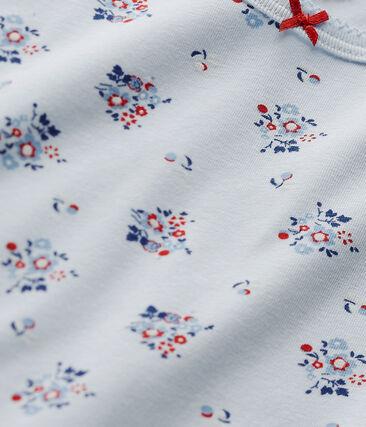 T-shirt per bambina stampata in jersey stretch blu Fraicheur / bianco Multico