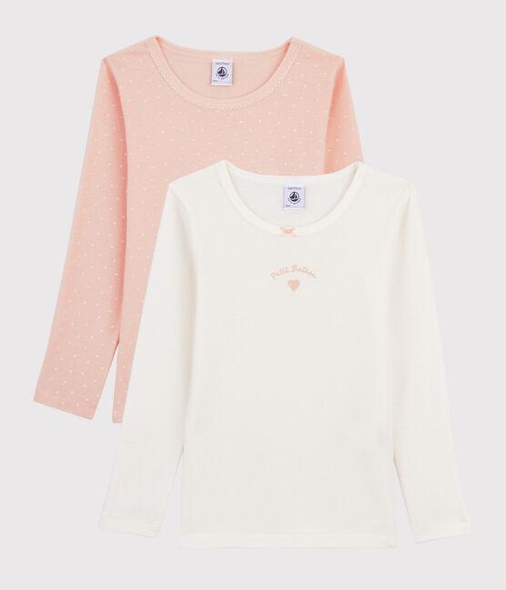 Confezione da 2 t-shirt a manica lunga cuori bambina lotto .