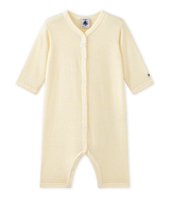 Tutina senza piedi bebè bambina millerighe giallo Pamplemousse / bianco Ecume
