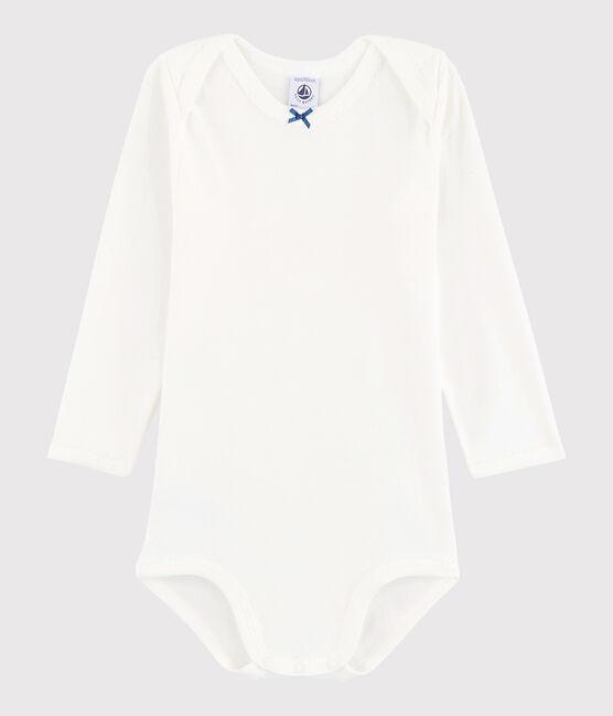Body manica lunga bebè femmina bianco Marshmallow / blu Acier