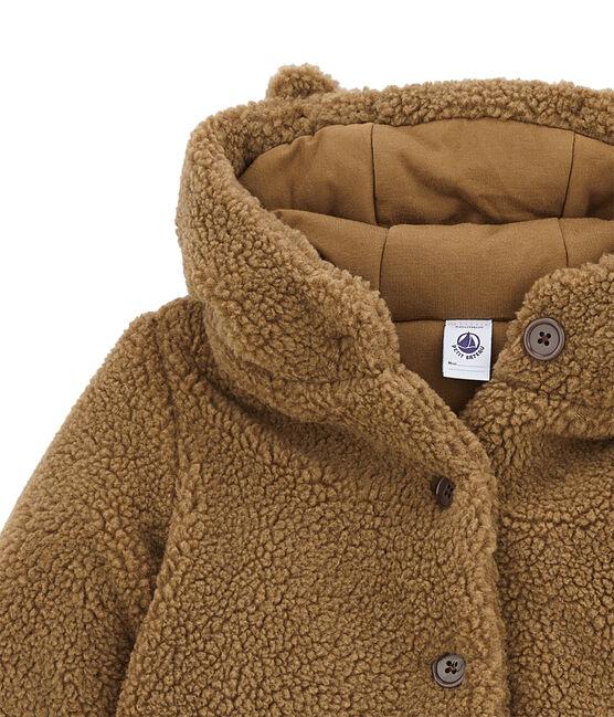Cappotto per bambina in sherpa marrone Brindille