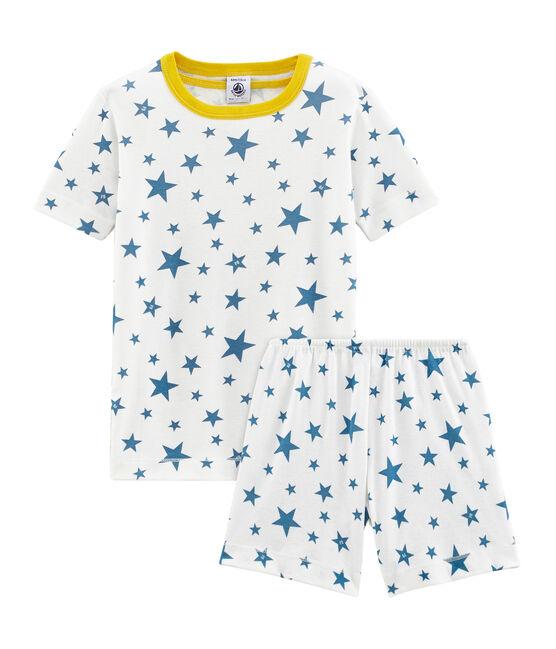 Pigiama corto bambino a costine bianco Marshmallow / blu Alaska