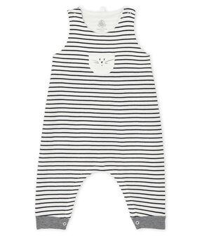 Salopette lunga iconica bebè unisex bianco Marshmallow / blu Smoking