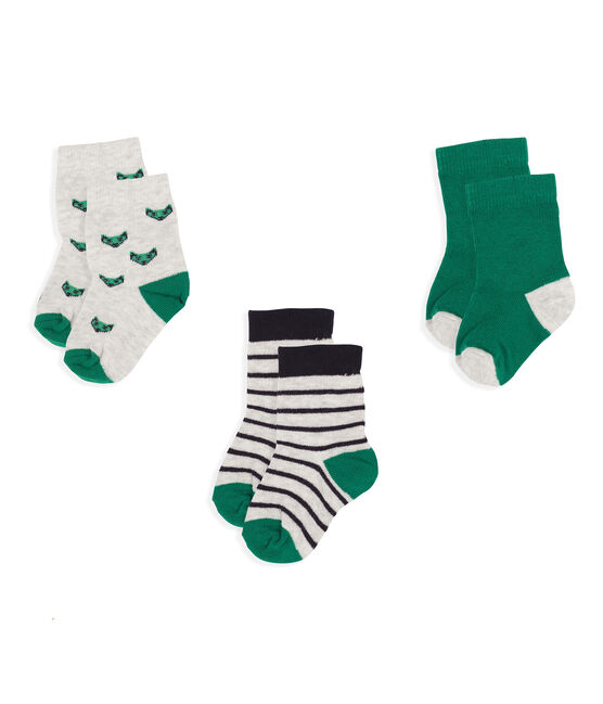 Confezione da 3 paia di calzini bebè maschio grigio Beluga