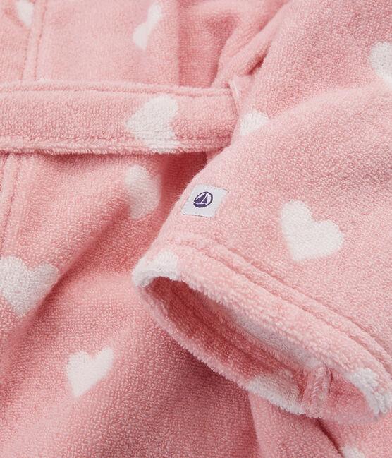 Accappatoio bambina in spugna rosa Charme / bianco Marshmallow
