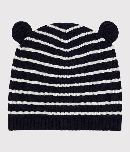 Cappello a righe bebè femmina/maschio blu Smoking / bianco Marshmallow
