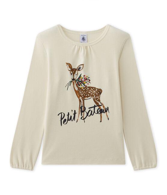 T-shirt a maniche lunghe per bambina con motivo beige Coquille / rosso Froufrou