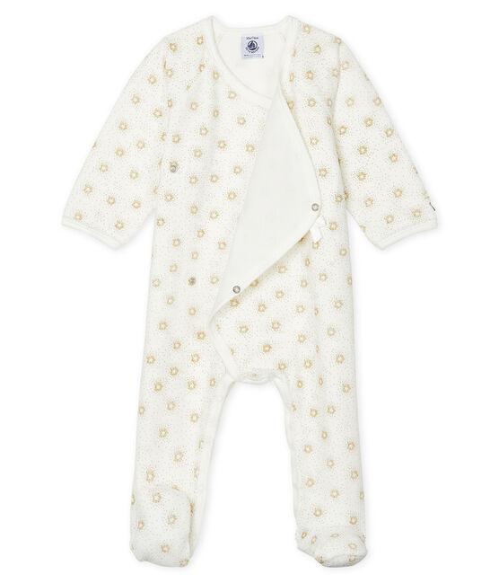 Tutina pigiama bebè femmina in ciniglia bianco Marshmallow / giallo Or