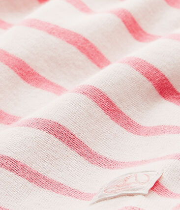 Abito body per bebé femmina rigato bianco Marshmallow / rosa Petal
