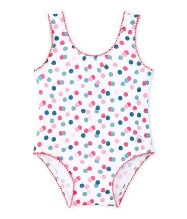 Costume da bagno bebé bambina stampato bianco Marshmallow / bianco Multico