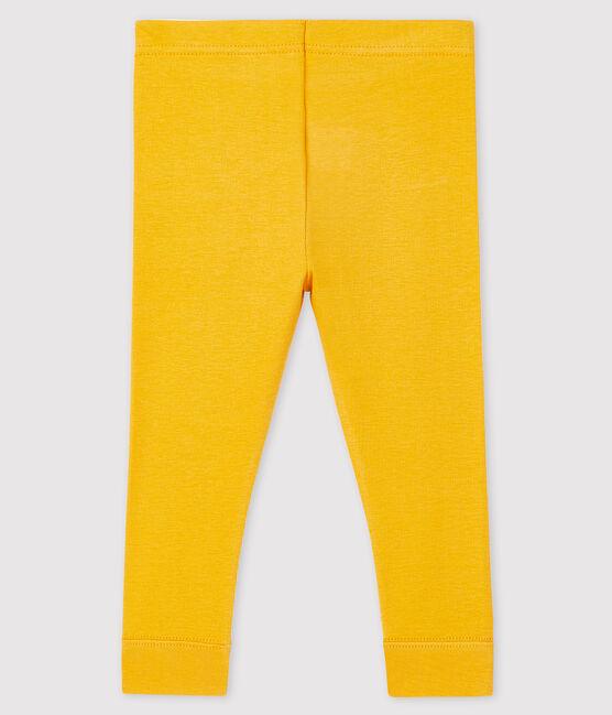 Leggings bebè femmina a costine 1x1 in tinta unita giallo Boudor