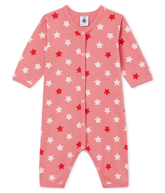 Tutina senza piedini per bebé femmina rosa Cheek / bianco Multico