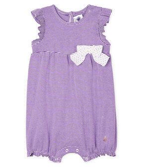 Tutina corta bebè femmina millerighe viola Real / bianco Marshmallow
