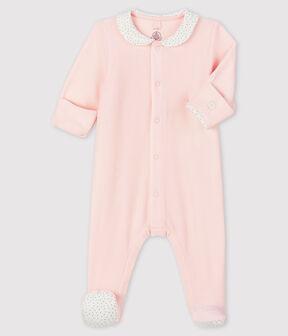 Tutina rosa da neonata in velluto rosa Fleur