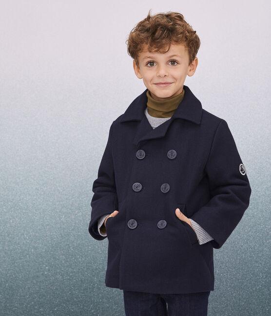 Caban in drap di lana ragazzo blu Smoking