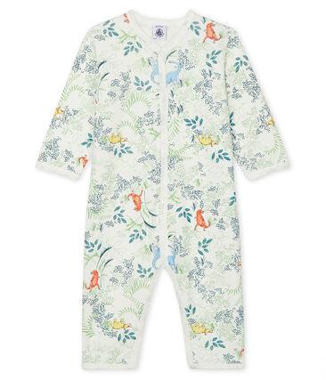 Tutina senza piedi bebè maschio a costine bianco Marshmallow / bianco Multico
