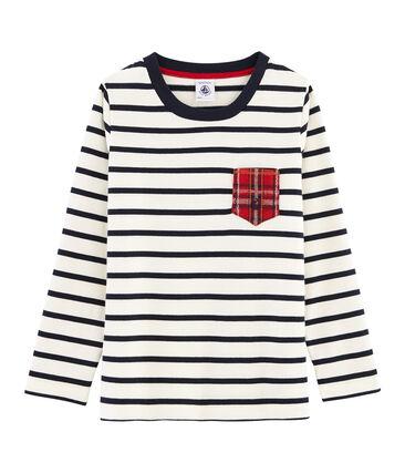 T-shirt maniche lunghe bambino bianco Marshmallow / blu Smoking
