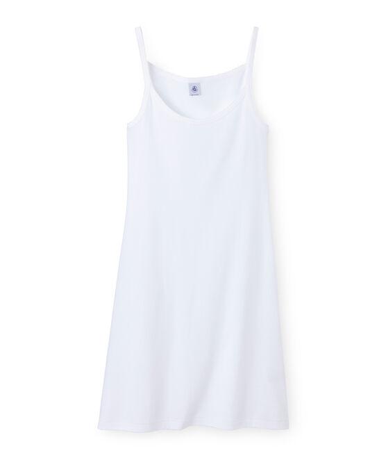 Chemise à bretelles femme coton/laine/soie bianco Lait