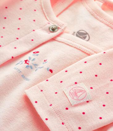 Completo 2 pezzi bebè a costine rosa Fleur / rosa Geisha