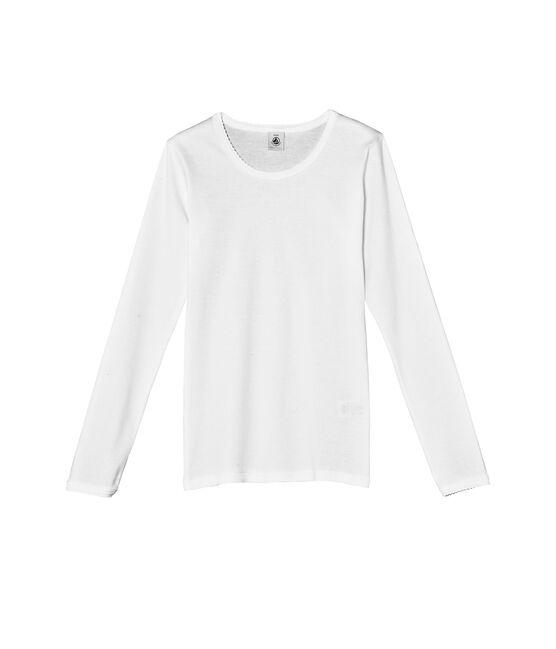 T-shirt maniche lunghe tinta unita a punto cocotte bianco Ecume