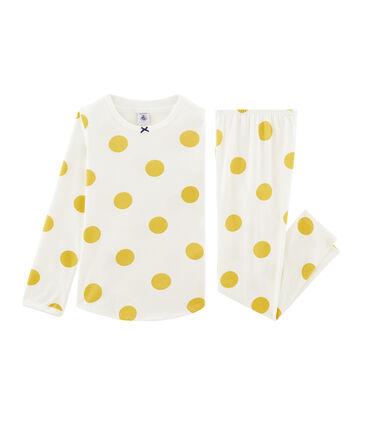 Pigiama bambina a costine bianco Marshmallow / giallo Ble Cn