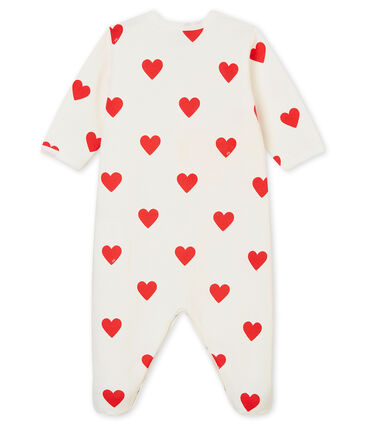 Tutina bebé femmina-maschio in molleton bianco Marshmallow / rosso Terkuit