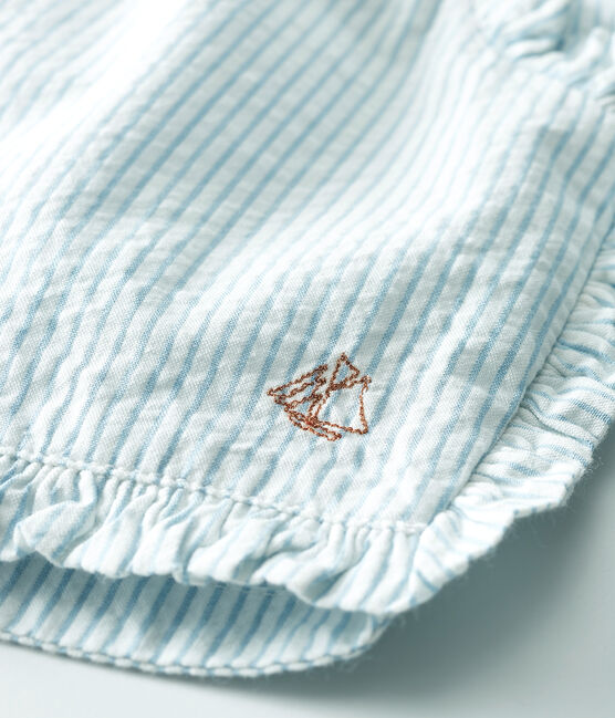 Short bebè femmina in seersucker (tessuto goffrato) bianco Marshmallow / blu Acier