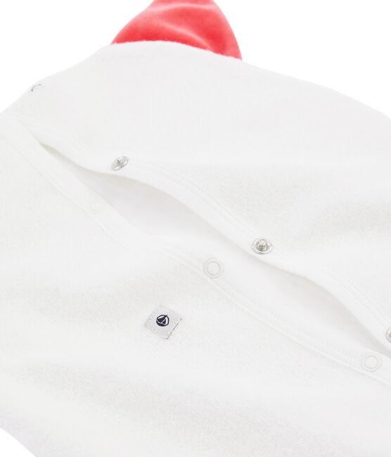 Riponi pigiama in spugna bouclette grattata, super calda bianco Marshmallow / rosso Signal