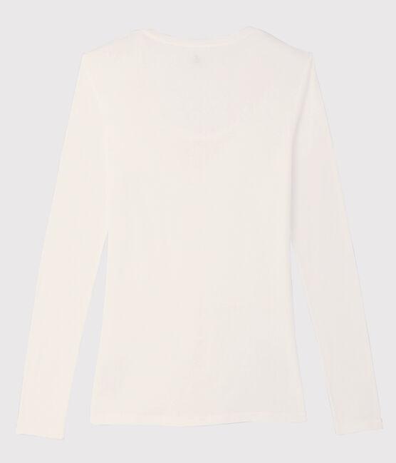 T-shirt leggera a costina fine Donna bianco Marshmallow