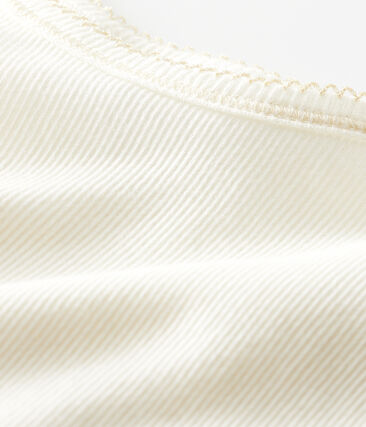 Canottiere con spalline bambina in cotone lana seta bianco Marshmallow