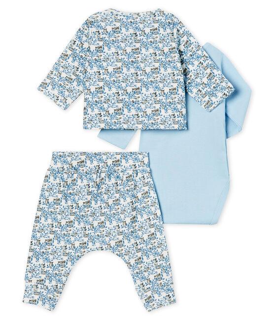 Completo tre pezzi bebè maschio a costine bianco Marshmallow / bianco Multico