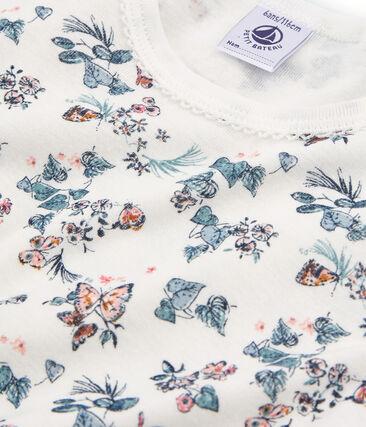 Pigiama corto bambina a costine modello molto aderente bianco Marshmallow / bianco Multico