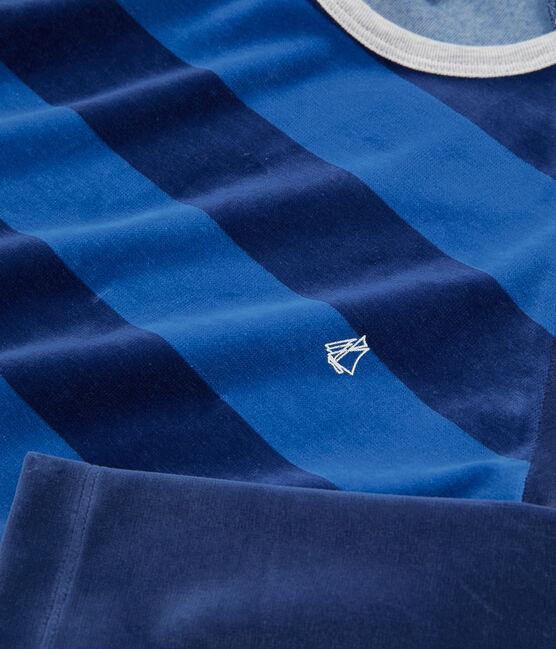 Pigiama ragazzo in ciniglia blu Medieval / blu Major