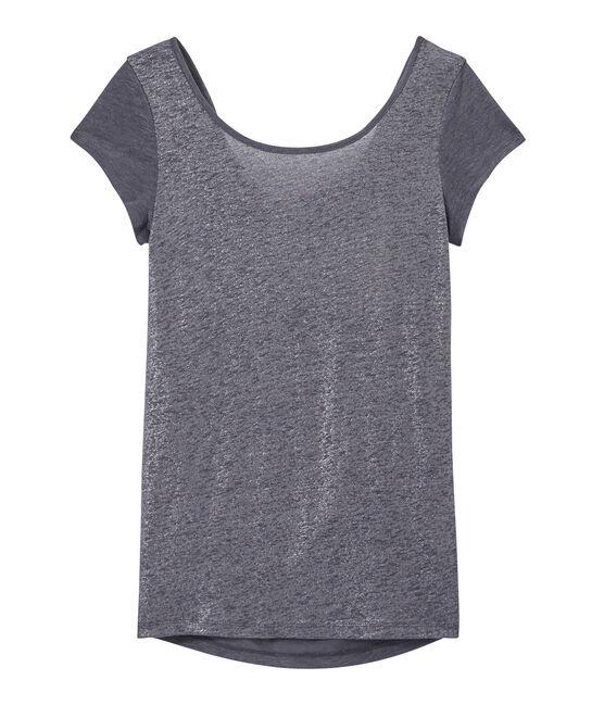 T-shirt donna con scollo ad acquasantiera sul retro in lino iridescente grigio Maki / grigio Argent