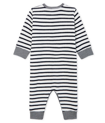 Tutina pigiama senza piedi in tubique da neonato bianco Marshmallow / blu Smoking