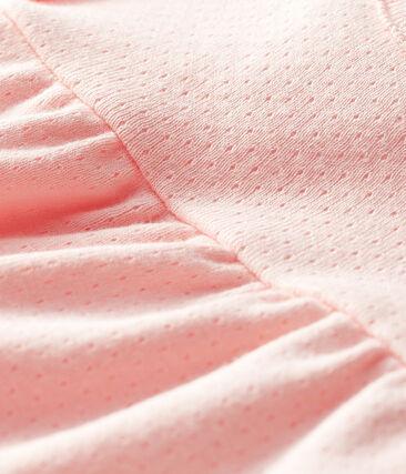 Blusa manica corta bebè femmina a tinta unita. rosa Minois