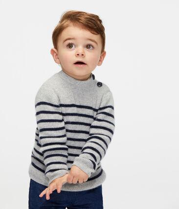 Pull in cachemire bebè maschio grigio Beluga / blu Smoking
