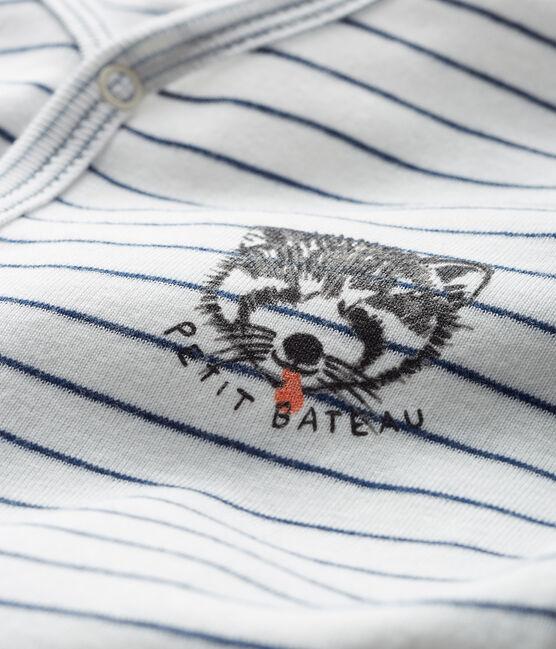 Tutina bebè maschio a costine bianco Marshmallow / blu Medieval