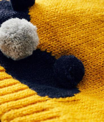 Cappellino bebè maschietto foderato in pile giallo Boudor