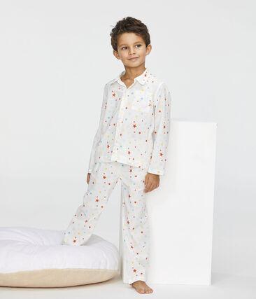 Pigiama bambino in twill bianco Marshmallow / bianco Multico