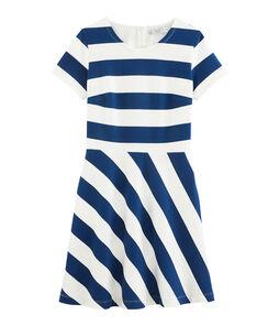 Abito donna blu Medieval / bianco Marshmallow