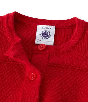 Cardigan bebé femmina in lana e cotone rosso Froufrou