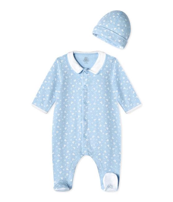 Tutina bebé e cappellino nascita blu Toudou / bianco Ecume