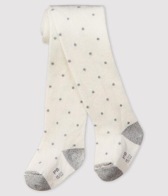 Collant a pois bebè femmina bianco Marshmallow / grigio Argent