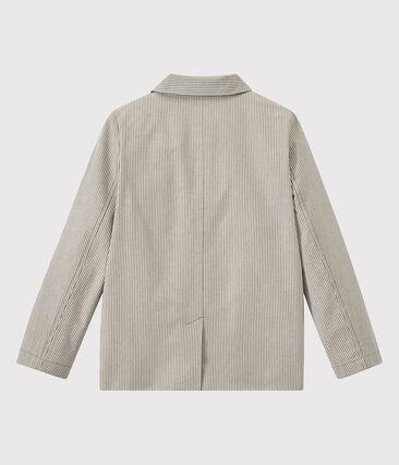 Blazer bambino in tessuto rigato grigio Minerai / bianco Lait