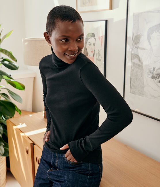 Dolcevita iconico in cotone Donna nero Noir