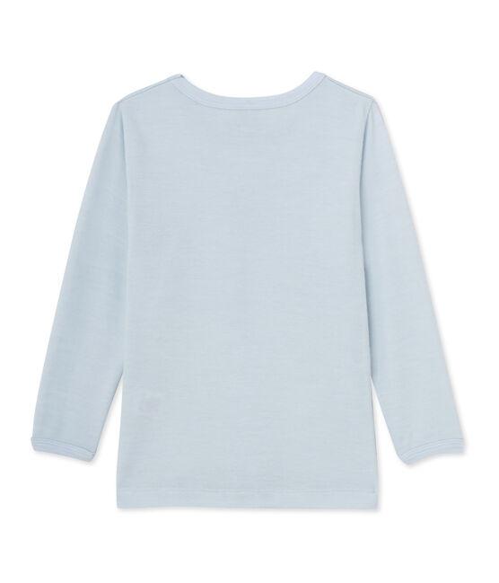 T-shirt bambino in lana e cotone blu Fraicheur