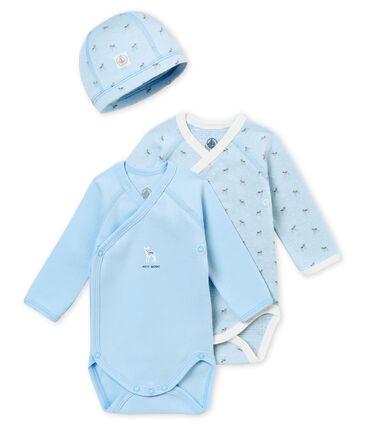 Scatola regalo di due bodies a maniche lunghe e cappellino nascita
