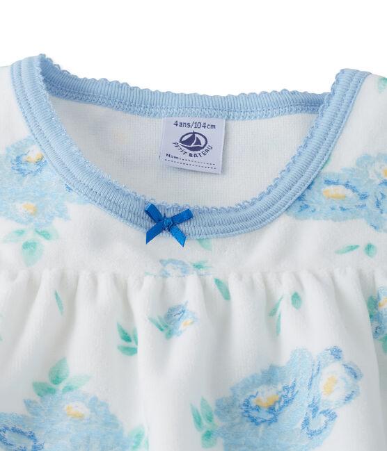 Camicia da notte in velluto stampato, con leggings abbinati bianco Lait / blu Bleu