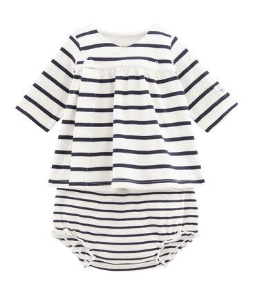 Abito e bloomer neonata a costine bianco Marshmallow / blu Smoking